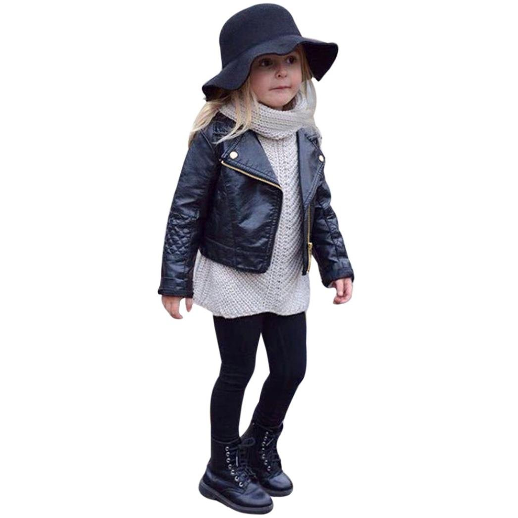 JPOQW Spring/Autumn Winter Girl Boy Kids Leather Coat Jacket (Black, 4 Years Old)