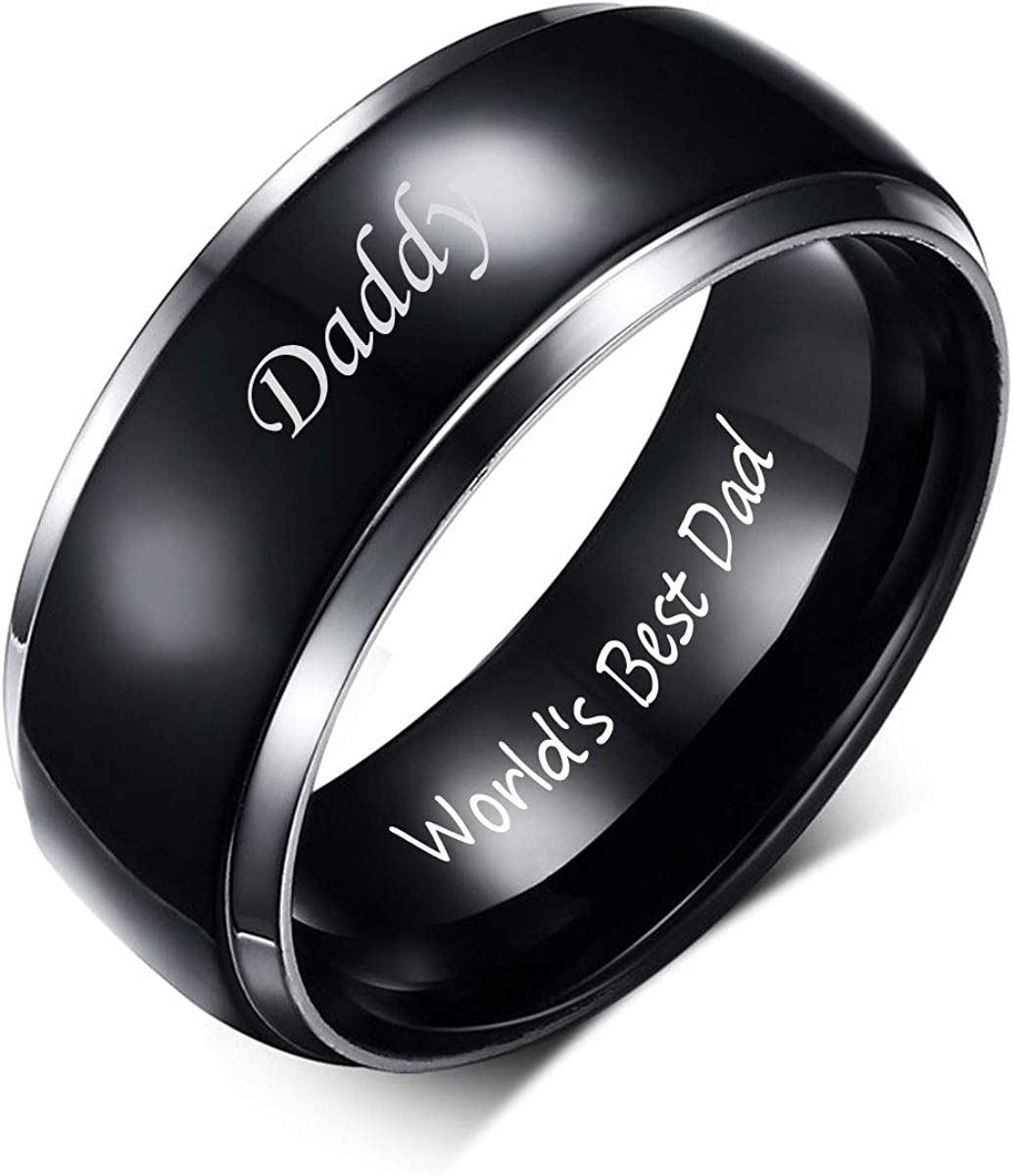 VNOX Titanium Ring Daddy World's Best Dad Engraved Personalized Wedding Bands Rings Birthday Gift for Men Dad,Size 6-13