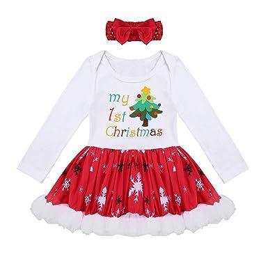 72b8c39294e2c dPois Bébé Fille Noël Robe de Princesse Body Naissance Barboteuse Robe  Soirée Cérémonie Mariage Tutu Robe