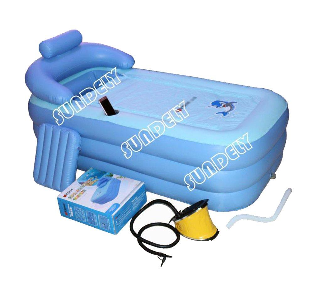 SUNDELY Blue Color PVC Portable Foldable Folding Inflatable Air Bathtub Adults Spa Bath Tub Children Kid Pool with Foot Pump