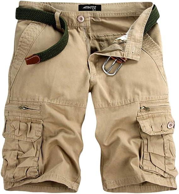 Pantalón Corto Cargo Elástico Cómodo Algodón para Hombre Shorts ...