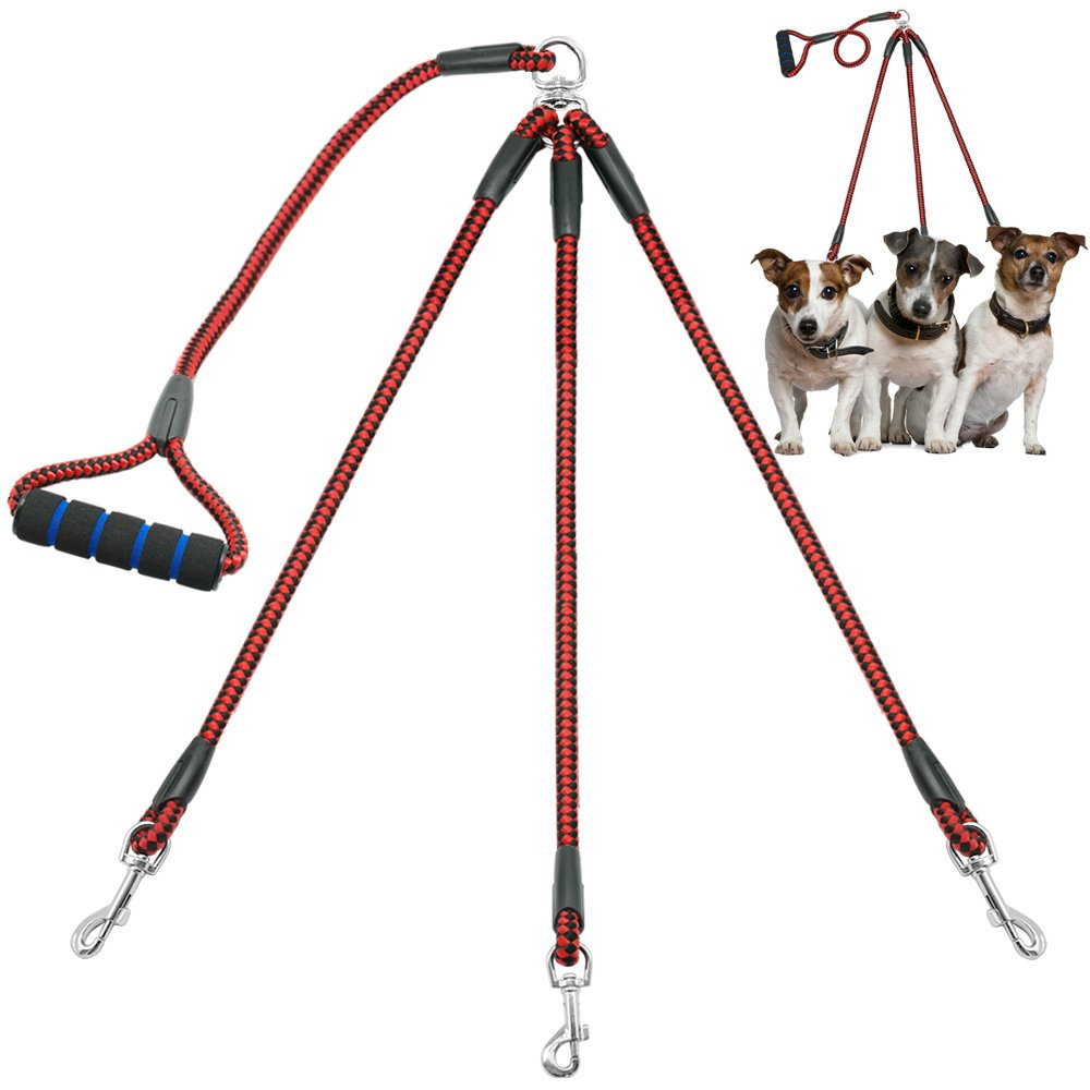 Didog 3 Way Dog Coupler Leash with Sponge Handle,Heavy Duty Sturdy Dog Leashes for Walking Puppy Small Medium Dogs