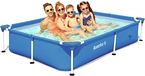 Avenlur Steel Pro Rectangular Above Ground Swimming Pool Pool Only 87″ x 59″ x 17″