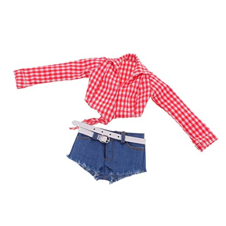970a0f13f95cf Amazon.com: Dovewill 1/6 Scale Checked Plaid Midriff-baring Shirt ...