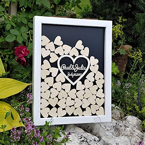 Customize hearts Rustic wedding engraved Alternative Wooden guestbooks Drop memory box signature guest books 40x50 cm with 150pcs Small Wood Hearts by PotteLove (Image #6)
