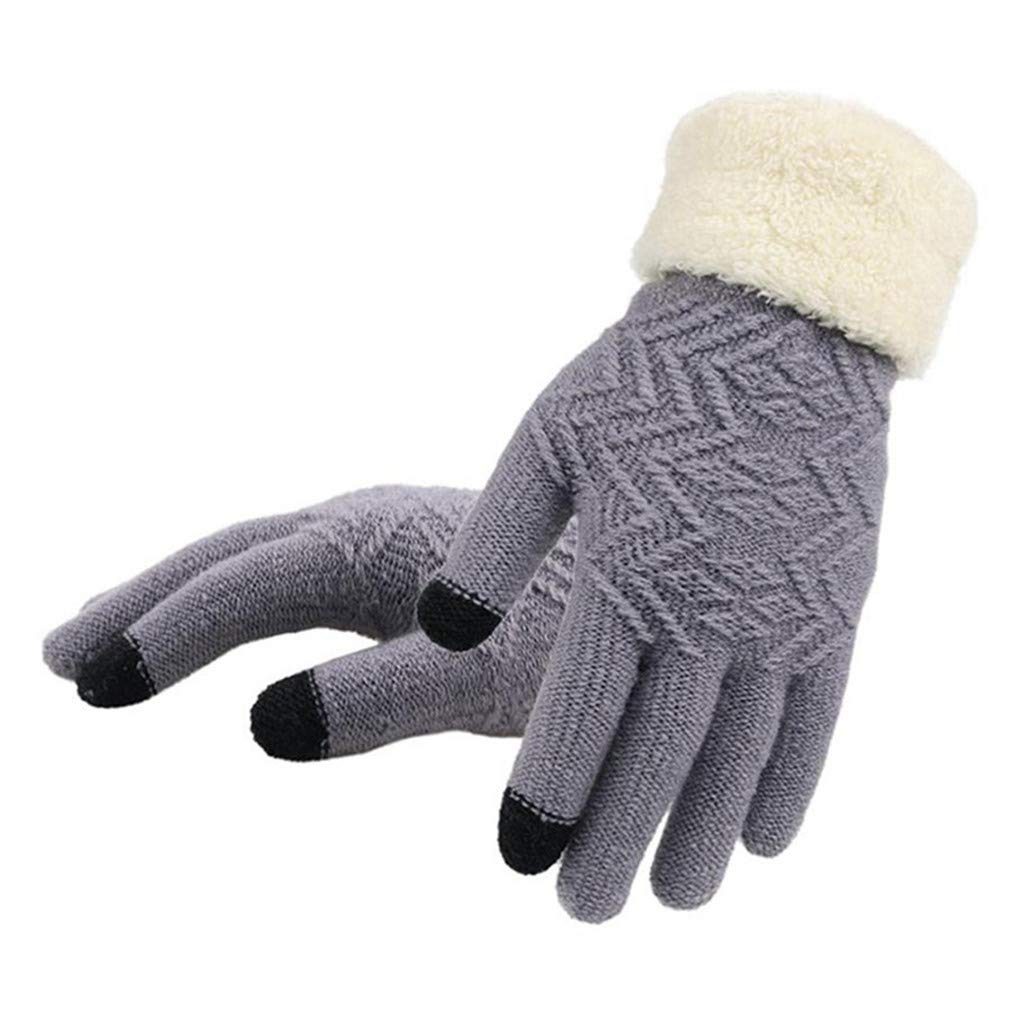 Lerdon Knitted Gloves Touch Screen Women Thicken Winter Warm Gloves Female Full Finger Soft Stretch Knit Mittens Guantes