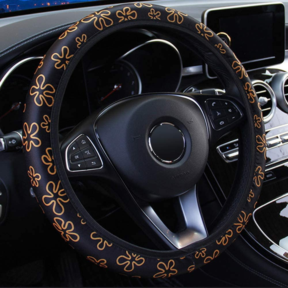 iTimo Car Elastic Universal Steering Wheel Cover for Auto Decoration Flowers Print Style Interior Accessories