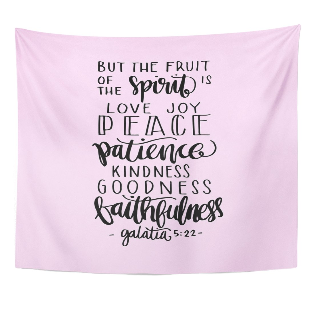 VaryHome Tapestry Scripture Fruits of the Happiness Lettering Bible Verse Modern Calligraphy Christian Spirit Text Home Decor Wall Hanging for Living Room Bedroom Dorm 50x60 Inches