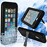 TPLB 6.6 ft Underwater Waterproof Shockproof SnowProof DirtProof Multi-Protection Case Cover with Touch ID Kickstand for iPhone 6 4.7in Black