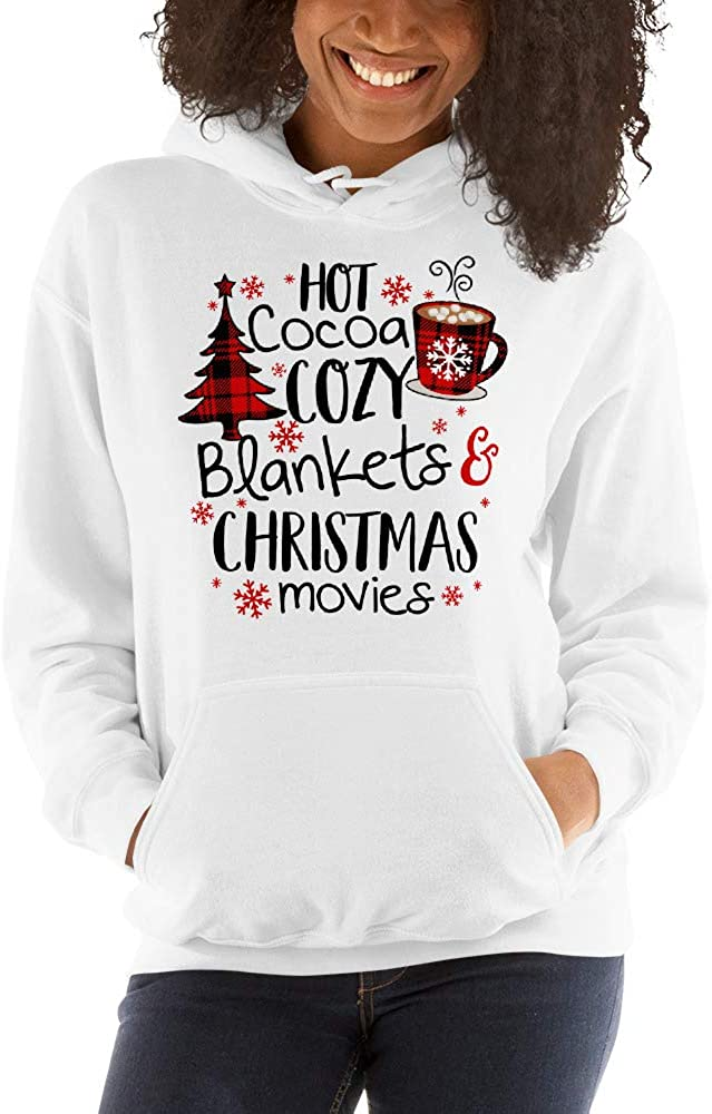 Hot Cocoa Cozy Blankets Christmas Movies Red Buffalo Plaid Unisex Hoodie