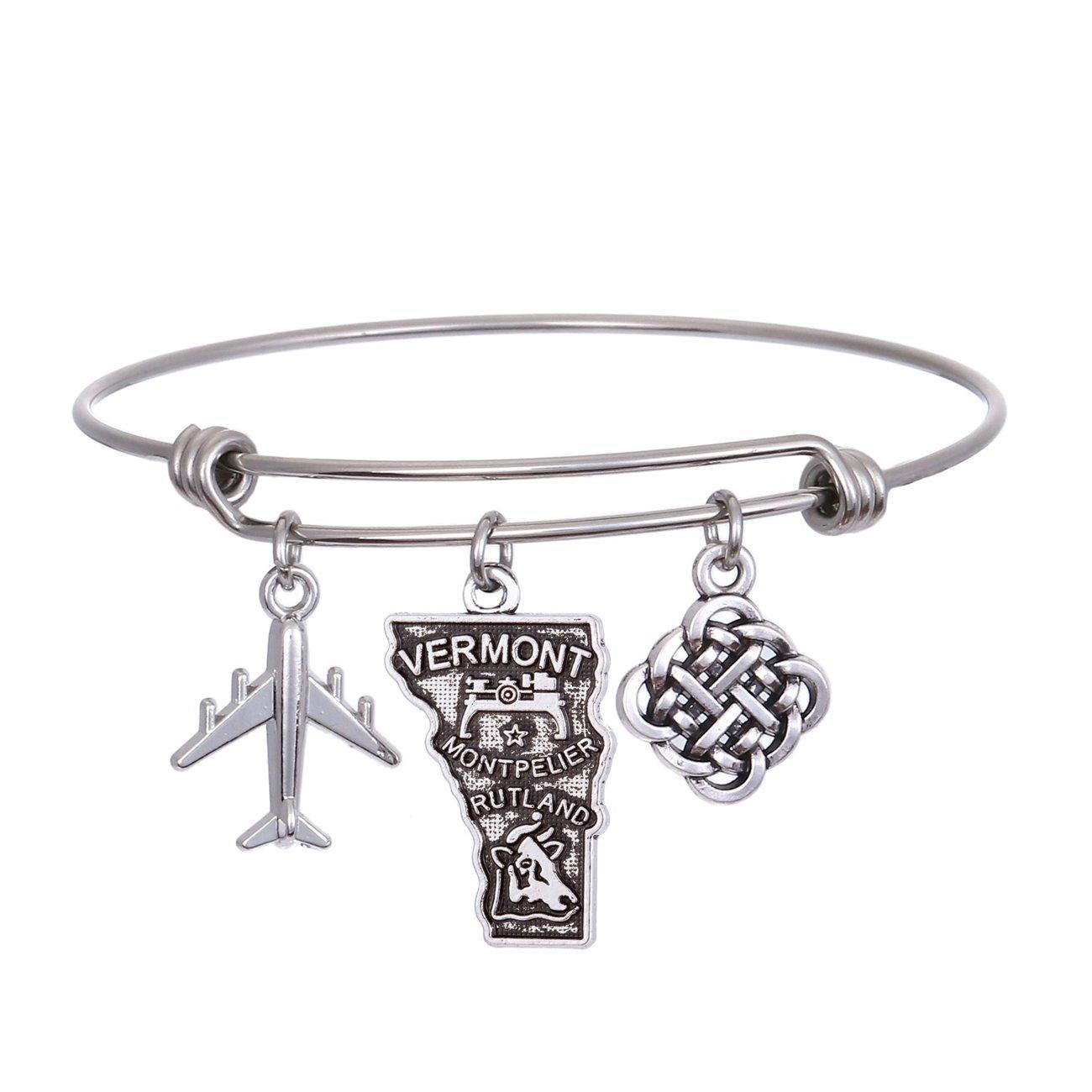 JJTZX State Bangle U.S. Map Charm Expandable Travel Bracelet Long Distance Relationship Gift Best Friends Bracelet (Vermont)