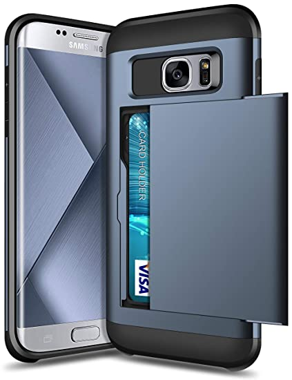 SAMONPOW Case for Samsung Galaxy S7 Edge Dual Layer Protective Shell Galaxy S7 Edge Wallet Case Hard PC Soft TPU Inner Rubber Bumper Card Slot Back ...