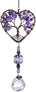 H&D HYALINE & DORA Sun Catcher Crystal Tree of Life Rainbow Maker Drops Hang for Window, Home Decor, Car Charms