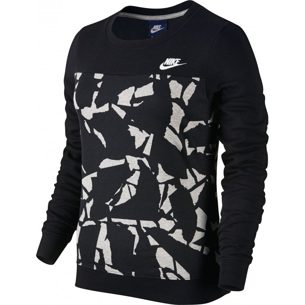 Nike W Nsw Crw Flc Aop - Camiseta de manga larga para mujer, color negro/blanco, talla L