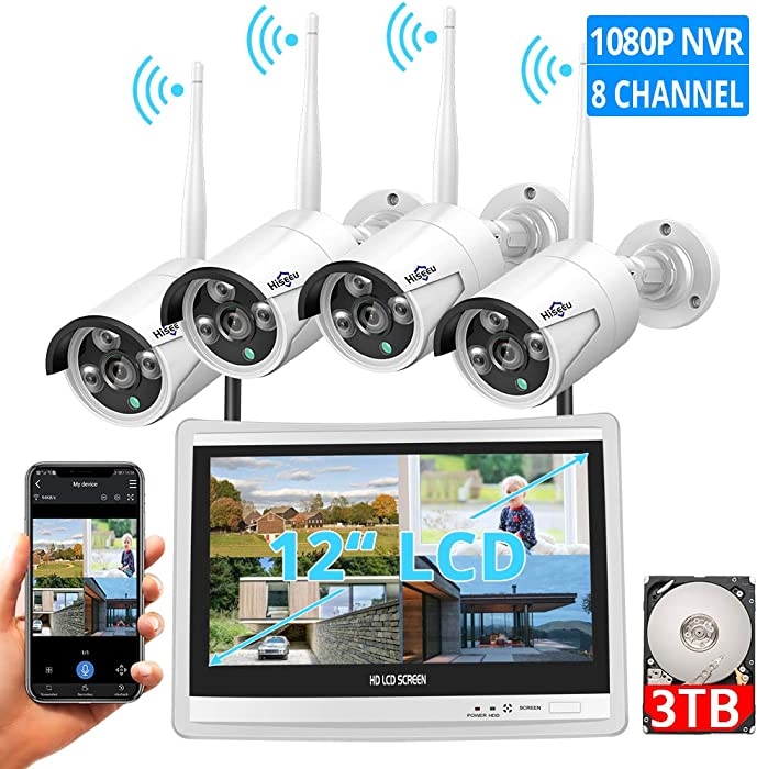 "[8CH Expandable] All in one with 12"" LCD Monitor Wireless Security Camera System, Home Business 8CH 1080P NVR Kit 4pcs 2MP Outdoor Bullet IP Cameras(Black) 65ft Night Vision Waterproof,3TB Hard Drive"