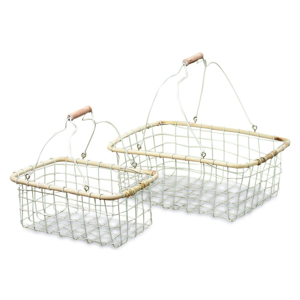 Farmer's Market Wire Baskets, Set of 2, White, Iron, Rustic Turned Wooden Handle, Wood Rim, 15 and 11 1/2 Inches Long, Home and Garden Collection