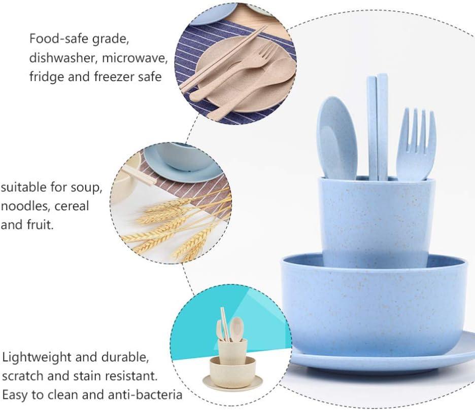 BESPORTBLE Stoviglie di Paglia Piatto di Fibra di Paglia di Grano Piatto di Plastica di Grano per Bambini