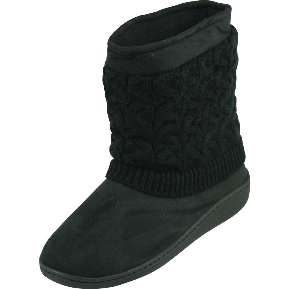 Forfoot Woman's Girl's Winter Warm Cozy Knit Fashion Indoor Bedroom House Ankle Boot Slippers Black US Women's Size 7/8