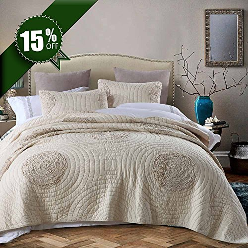 Quilts King Size 3D Floral Pattern Patchwork Bedspread 100% Cotton Solid Champagne Modern King Size Quilts Coverlets Set with Shams by MicBridal