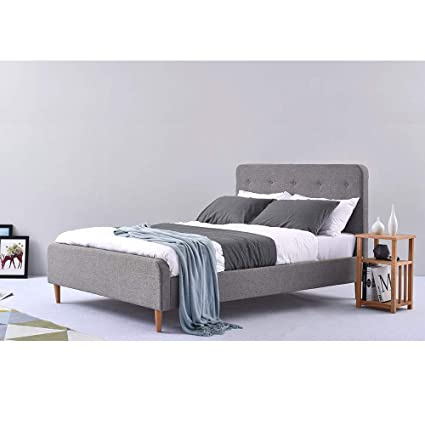 Modern 4FT6 5FT Double Fabric Bed Frame Slatted Padded Headboard Solid Wood Leg