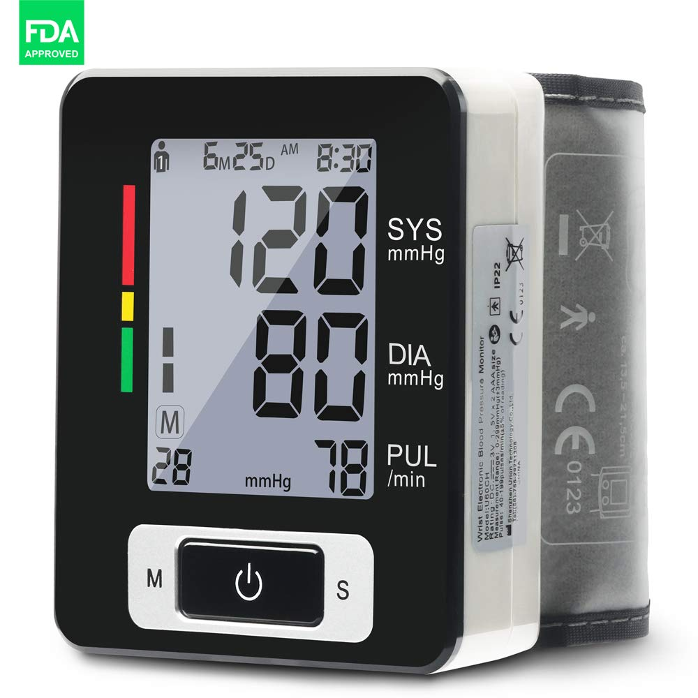 Lunasea Automatic Wrist Blood Pressure Monitor FDA Approved, 5.3'' - 8.5'' Cuff Size, Black - Portable Case Included