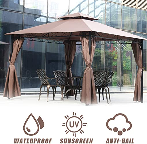 FDW Canopy Tent Gazebo 10 X 13 Grill Gazebo for Patios BBQ Outdoor Patio Large Garden Top Gazebo with Sidewall Party Tent