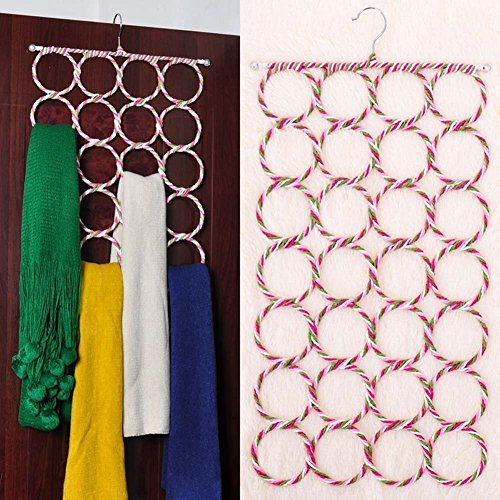 GZNIGHT 28 Count Circles Scarf Hanger Belt Tie Multifunctional Organizer Holder Collapsible (Random-Color)