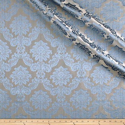 Europatex Dashing Damask Jacquard Aqua Fabric by The Yard