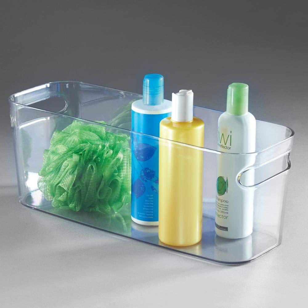 soins panier de rangement avec poign/ées pour la salle de bain transparent etc serviettes lot de 2 bac de rangement id/éal pour produits de maquillage mDesign bo/îte de rangement en plastique