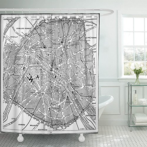 Emvency Shower Curtain Old Map of Paris France Vintage Engraving Black White Waterproof Polyester Fabric 60 x 72 Inches Set with Hooks