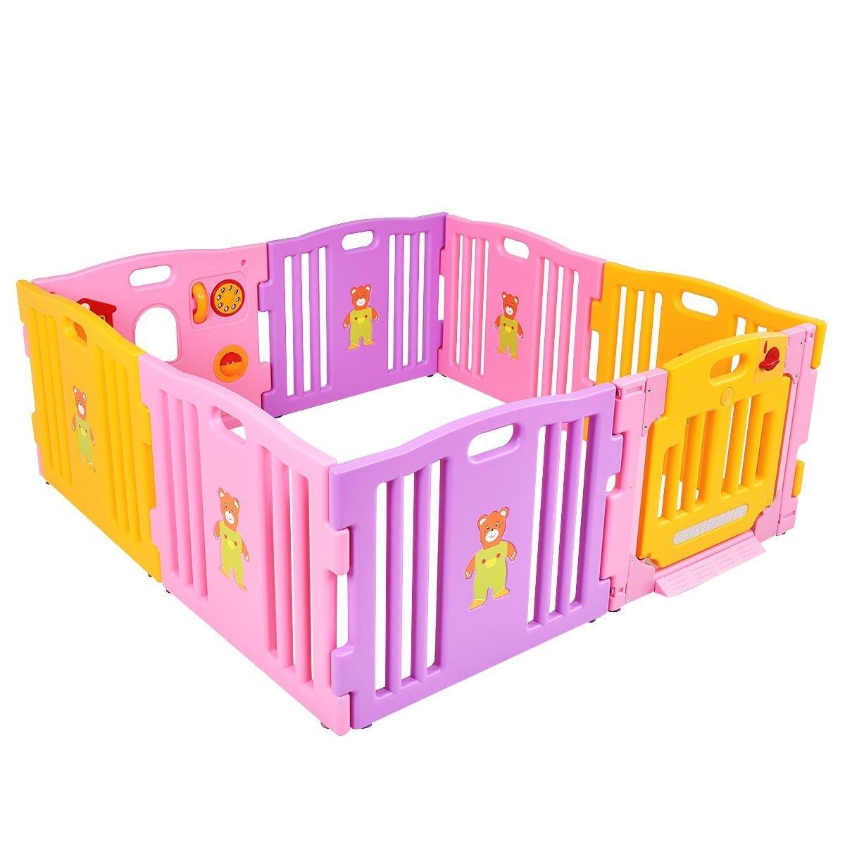 Pink 8 Panel Baby Playpen Kids Safety Play Center Center Yard Pink Indoor CHOOSEandBUY by CHOOSEandBUY (Image #3)