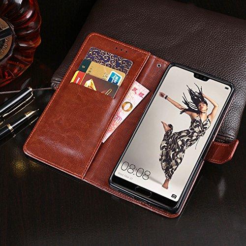COQUE Caja del teléfono de Huawei P20, billetera del tirón del cuero de imitación del estilo del libro con la caja de la ranura para tarjeta para Huawei P20(Marrón) Blanco