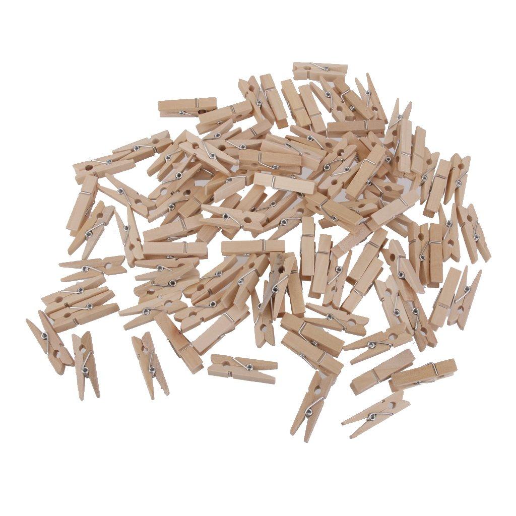 100x Clavijas Pinzas Contactos de Madera Naturales Ropa Foto Papel DIY Mini Clips 25 * 3mm