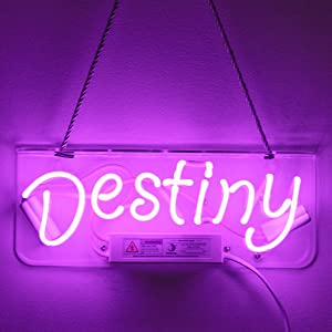 Neon Signs for Wall Decor Glass Tube Neon Light Signs with Eye Protective Soft Light for Bedroom 100% Handmade Wall Sign Art Decorative Letter for Office Party Holiday Chirstmas (Destiny Purple)