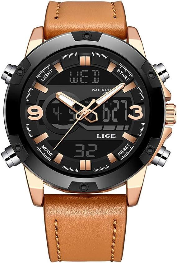 Men's Watches Sports Analog Digital Quartz Watch Waterproof Casual Wristwatch Dual Time Display Army Watch Stopwatch for Men (Black)