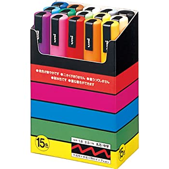 Uni-posca 15-Piece Paint Marker Pen (PC-5M15C)