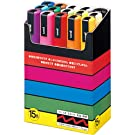 Uniball PC5M15 UNI POSCA Paint Pen Water-based Medium Round Point Box of 15 Assorted Colours