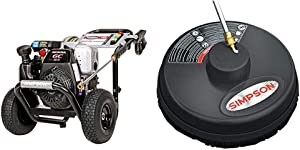 "Simpson Cleaning MSH3125 MegaShot Gas Pressure Washer Powered by Honda GC190, 3200 PSI at 2.5 GPM, Black & 80165, Rated Up to 3700 PSI Universal 15"" Steel Surface Scrubber, Plain"