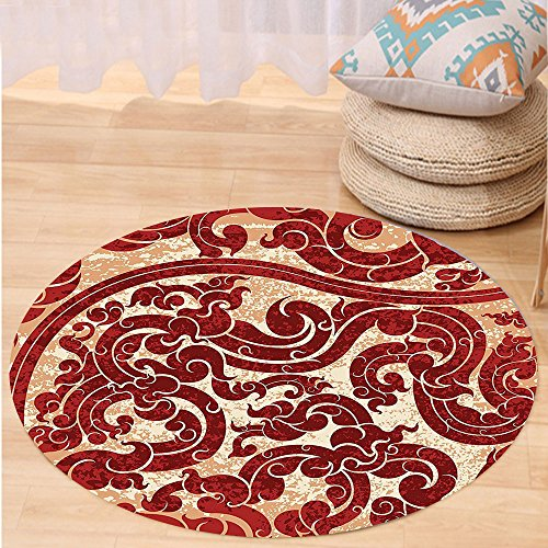 VROSELV Custom carpetAntique Decor Thai Culture Vector Abstract Background Flower Pattern paper Design Print for Bedroom Living Room Dorm Burgundy Round 79 inches by VROSELV