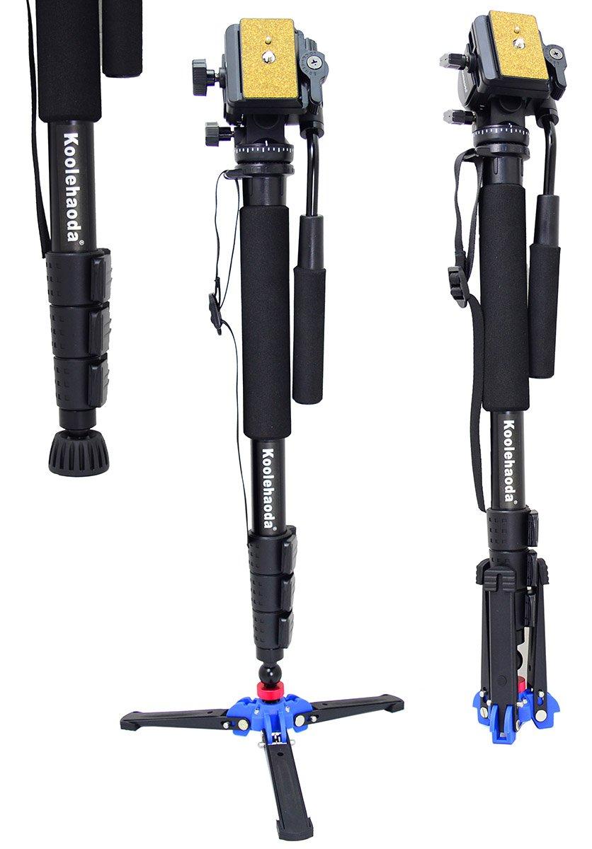 Koolehaoda Professional Camera Aluminium Monopod Fluid Video Head with A2-Tripod holder, Max:64',Max Load: 6kg Max:64 kuleda