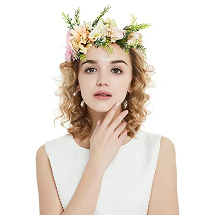 OKBO Coroncina fiori capelli per sposa damigella d onore bambina donna per  festa matrimonio fotografia 4a938d25e442
