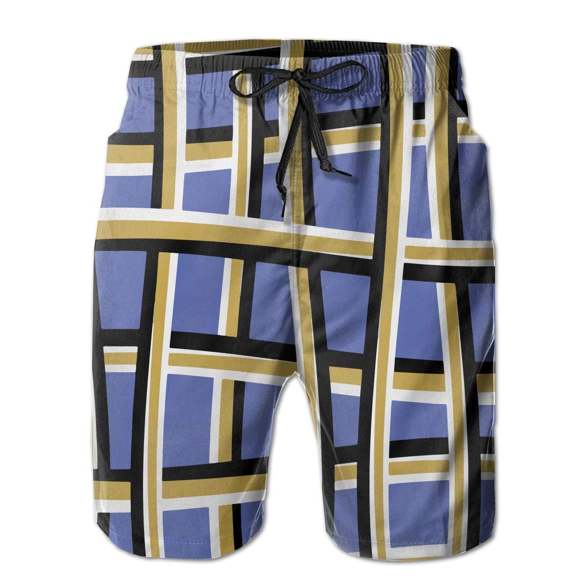 ONE-HEART-HR Men Abstract Line Weave Geometric Summer Swim Trunk Board Short Beach Shorts