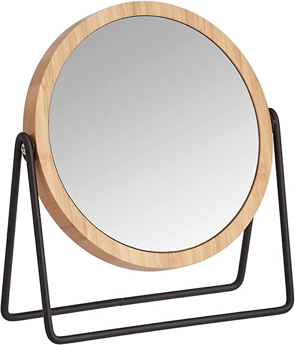 AmazonBasics Vanity Mirror with Bamboo Rim - 1X/5X Magnification