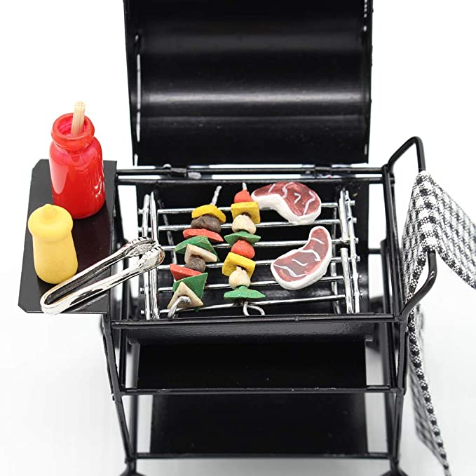 1//12 Dollhouse Furniture Miniatures Oven w Foods Barbecue BBQ Kitchenware