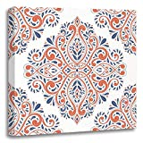 Emvency Painting Canvas Print Artwork Decorative Print Blue and Orange on White Paisley Traditional Arabic Turkish Indian Motifs Great Wooden Frame 16x16 inches Wall Art for Home Decor