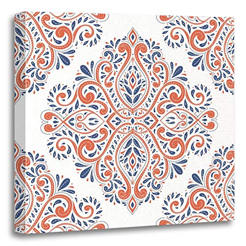 vas Print Artwork Decorative Print Blue and Orange on White Paisley Traditional Turkish Indian Motifs Great Wooden Frame 16x16 inches Wall Art for Home Decor ()