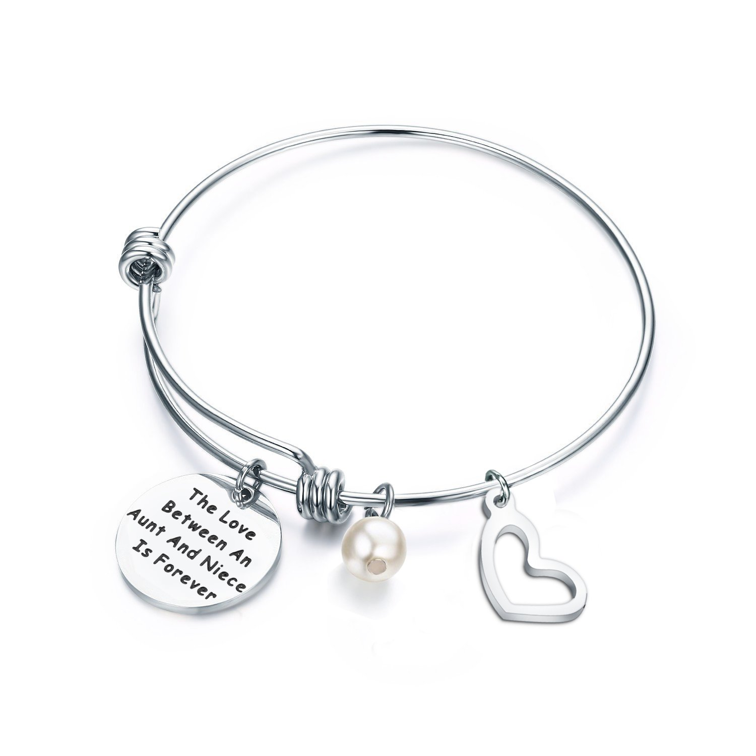 ENSIANTH Aunt and Niece Gift The Love Between Aunt & Niece is Forever Bracelet Expandable Charm Bracelet Aunt Niece Jewelry