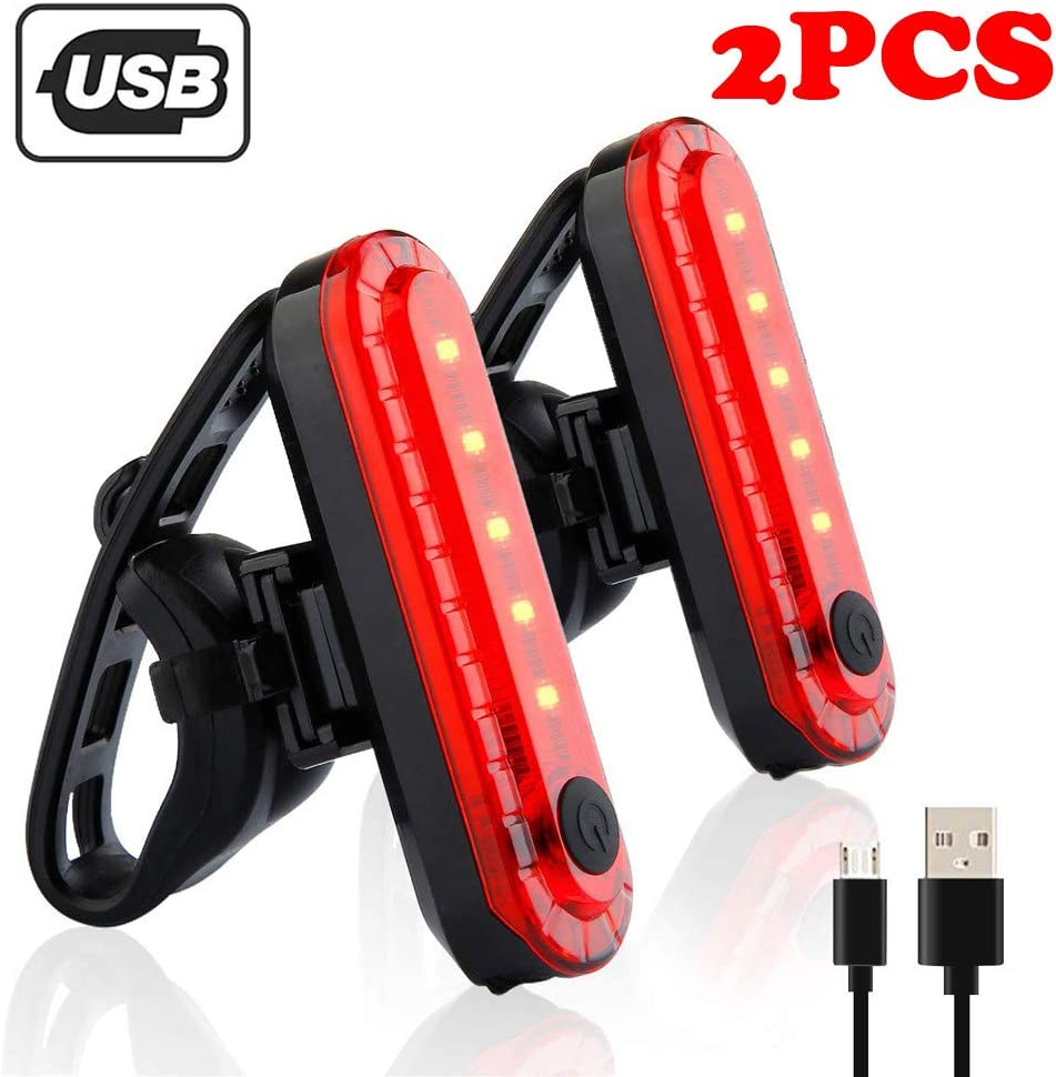 Glumes 2 Pcs Bike Tail Light, Ultra Bright USB Rechargeable 4 Mode Volcano Bicycle Taillights,Red High Intensity Led Accessories Fits On Any Road Bikes,Helmets Easy Install for Cycling Safety Flashlight