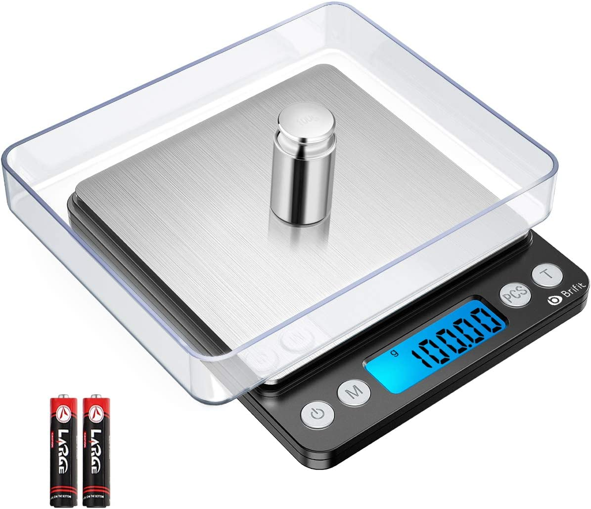 Brifit Digital Kitchen Scale, 500g/ 0.01g Mini Pocket Jewelry Scale, Cooking Food Scale with Back-Lit LCD Display, 2 Trays, 6 Units, Auto Off, Tare, PCS Function, Stainless Steel, Black