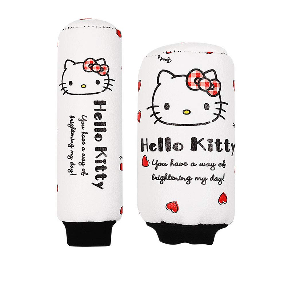 Red Carmen Genuine Leather Gear Shift Cover with Handbrake Cover Set Hello Kitty Cute Cartoon Four Seasons Universal Auto Interior Accessories Decoration